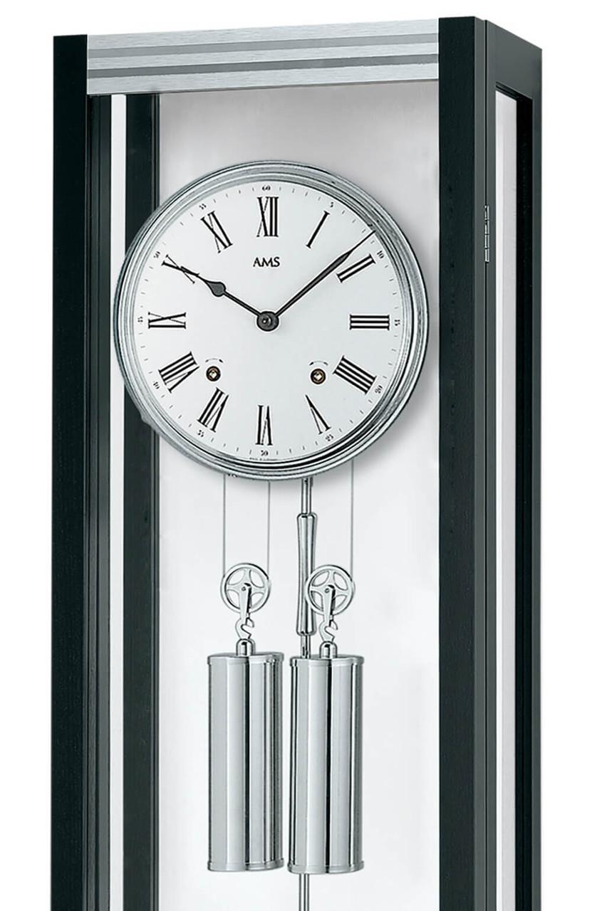 Horloge murale m canique moderne sonnerie en verre et bois laqu noir for Horloge murale bois moderne