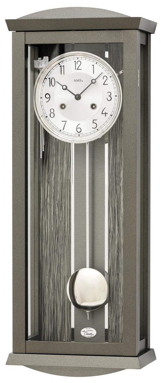 Horloge murale m canique moderne en bois gris et aluminium for Horloge murale bois moderne