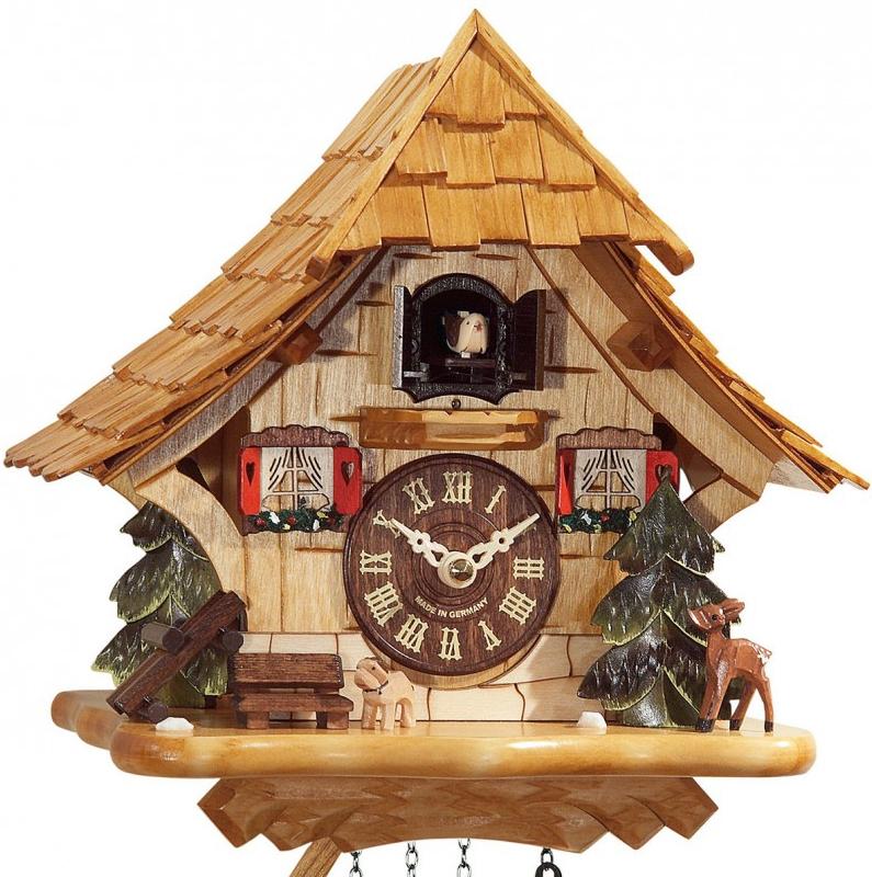 coucou quartz musical chalet bois clair horloge coucou 1001 pendules. Black Bedroom Furniture Sets. Home Design Ideas