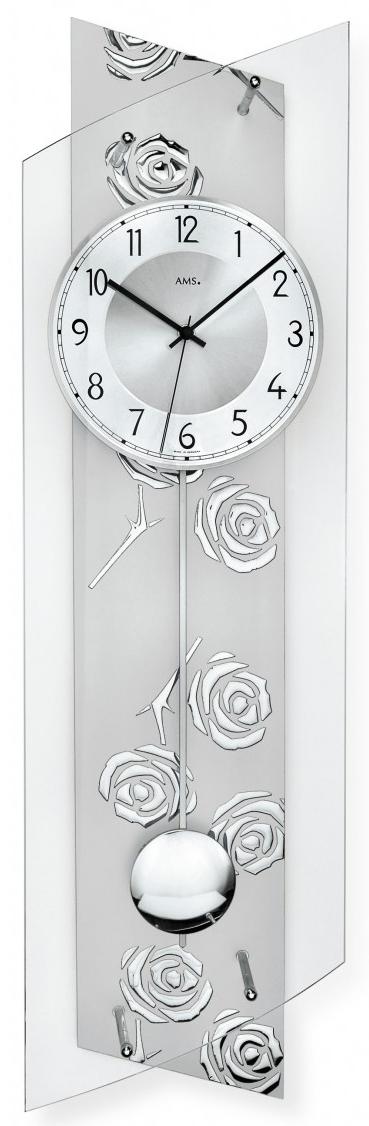 best pendule murale balancier radiopilote verre aluminium. Black Bedroom Furniture Sets. Home Design Ideas