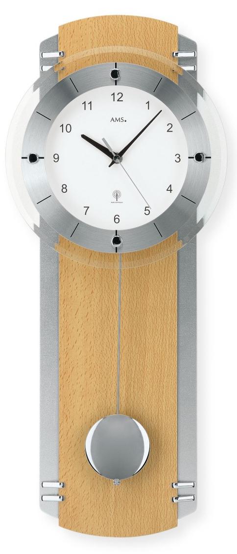 horloge murale balancier radio pilot e en h tre et chrom. Black Bedroom Furniture Sets. Home Design Ideas