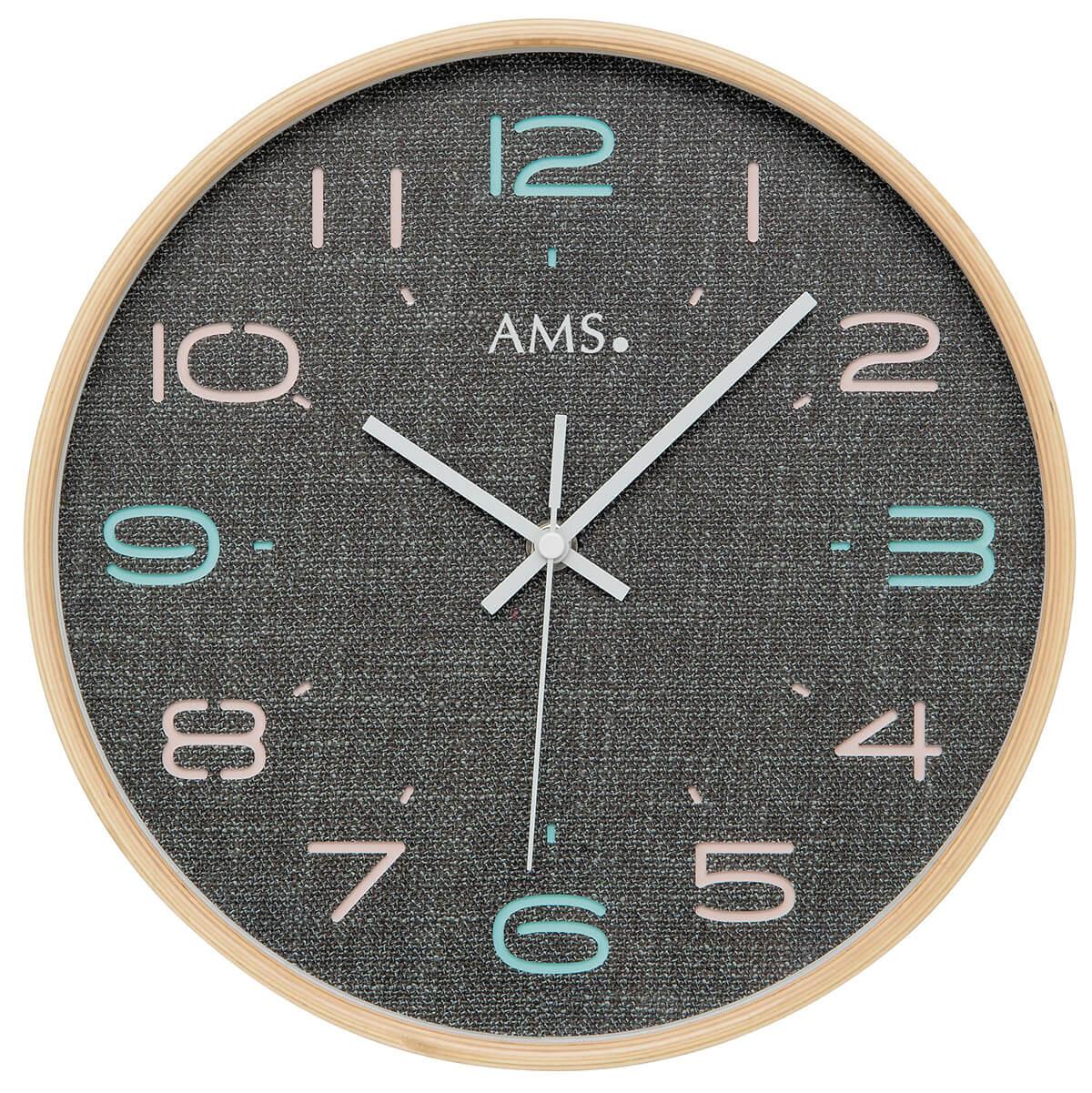 horloge murale ronde radio pilot e couleur bois. Black Bedroom Furniture Sets. Home Design Ideas