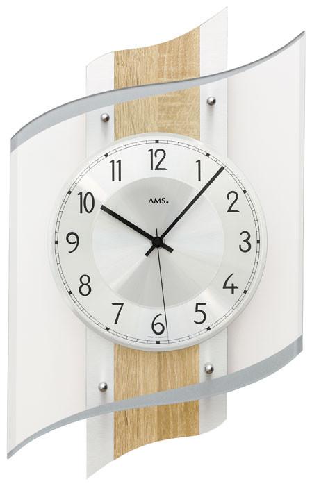 Horloge murale moderne radio pilot e en verre aluminium et bois de sonoma for Horloge murale bois moderne
