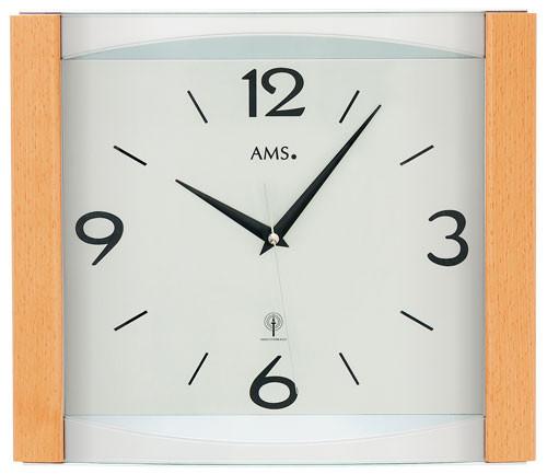 Horloge murale moderne radio pilot e rectangulaire en verre et bois for Horloge murale bois moderne
