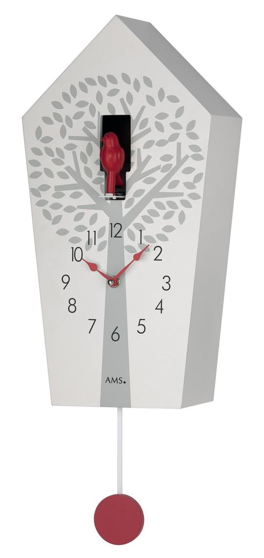 coucou moderne quartz en bois laqu blanc oiseau rouge. Black Bedroom Furniture Sets. Home Design Ideas