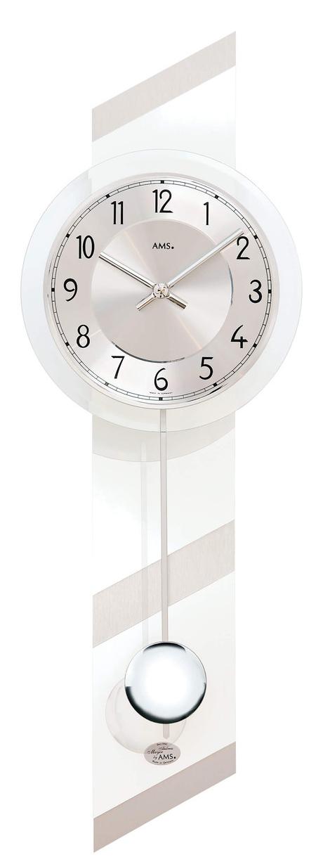 Horloge murale balancier moderne en bois blanc brillant et aluminium for Horloge murale bois moderne