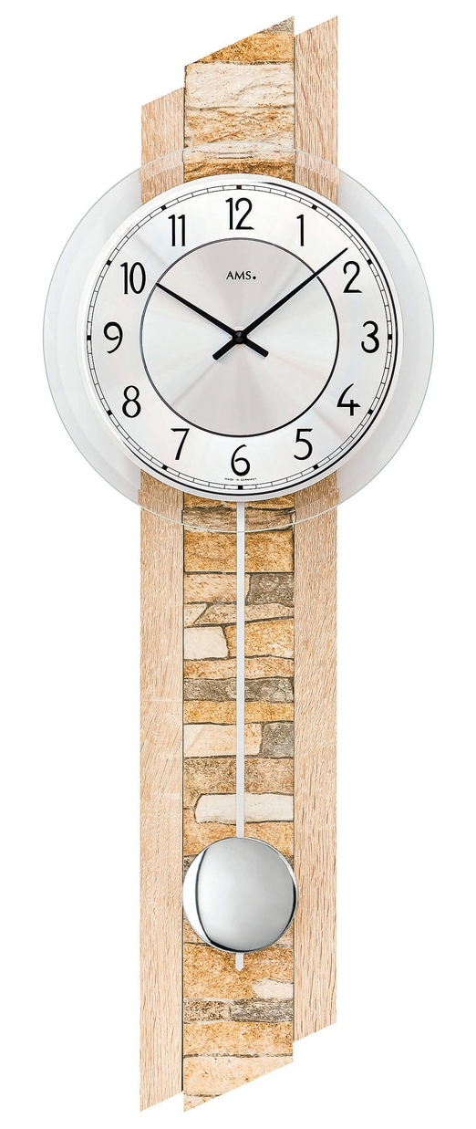 horloge murale balancier avec incrustation pierre naturelle. Black Bedroom Furniture Sets. Home Design Ideas