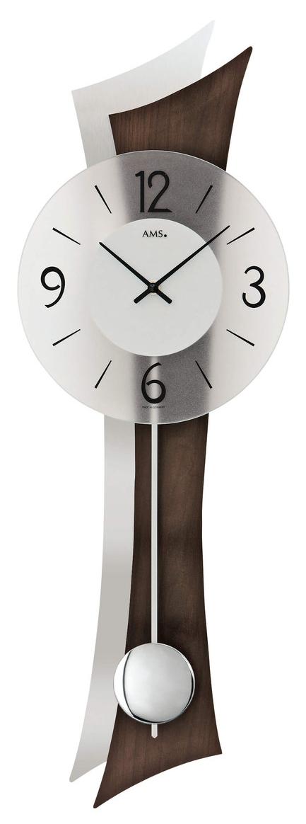 Horloge murale balancier moderne en bois et aluminium incurv for Horloge murale bois moderne