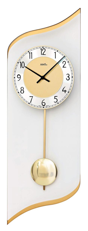 pendule murale balancier moderne vague dor e pendule murale 1001 pendules. Black Bedroom Furniture Sets. Home Design Ideas