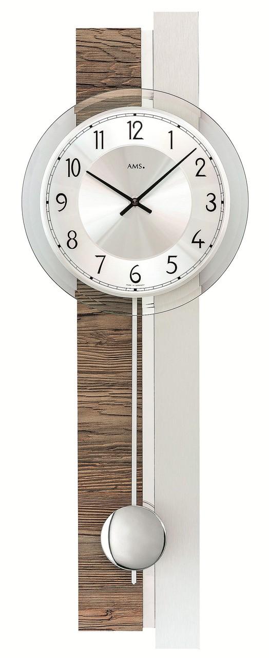 pendule murale moderne en aluminium et bois de noyer. Black Bedroom Furniture Sets. Home Design Ideas