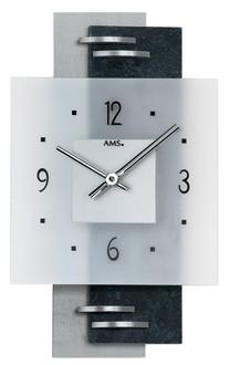 Horloge murale moderne en placage ardoise et verre 1001 pendules for Horloge murale moderne salon