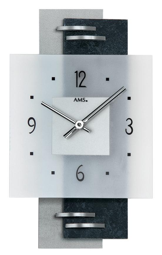horloge murale moderne en placage ardoise et verre. Black Bedroom Furniture Sets. Home Design Ideas