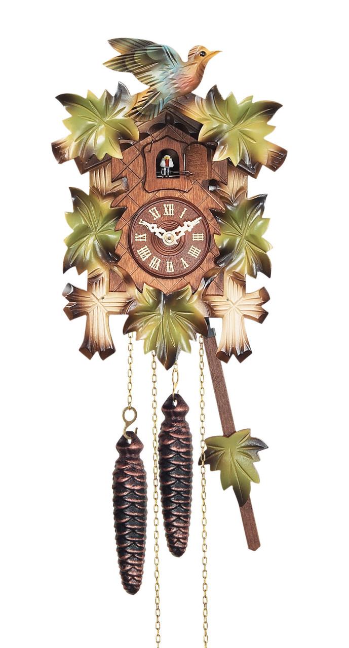 coucou quartz feuilles vertes oiseau color horloge coucou 1001 pendules. Black Bedroom Furniture Sets. Home Design Ideas