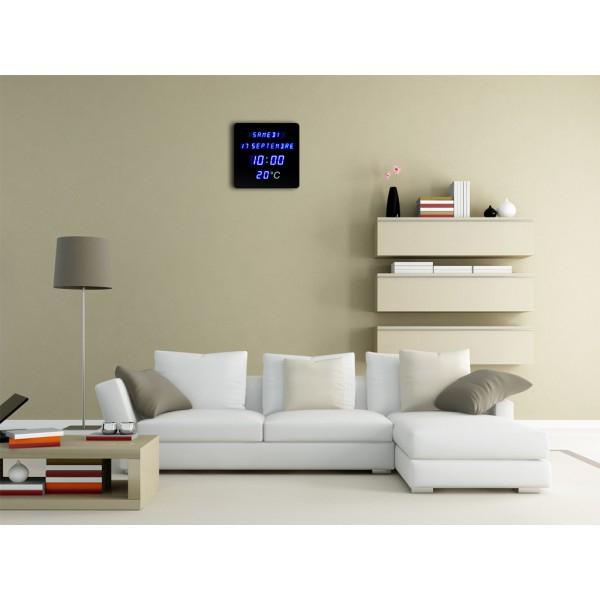 pendule murale calendrier affichage digital bleu 1001. Black Bedroom Furniture Sets. Home Design Ideas