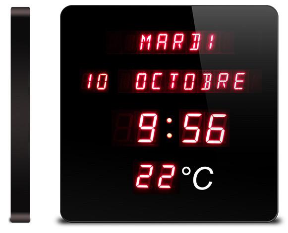 Pendule murale calendrier affichage digital rouge for Calendrier digital mural