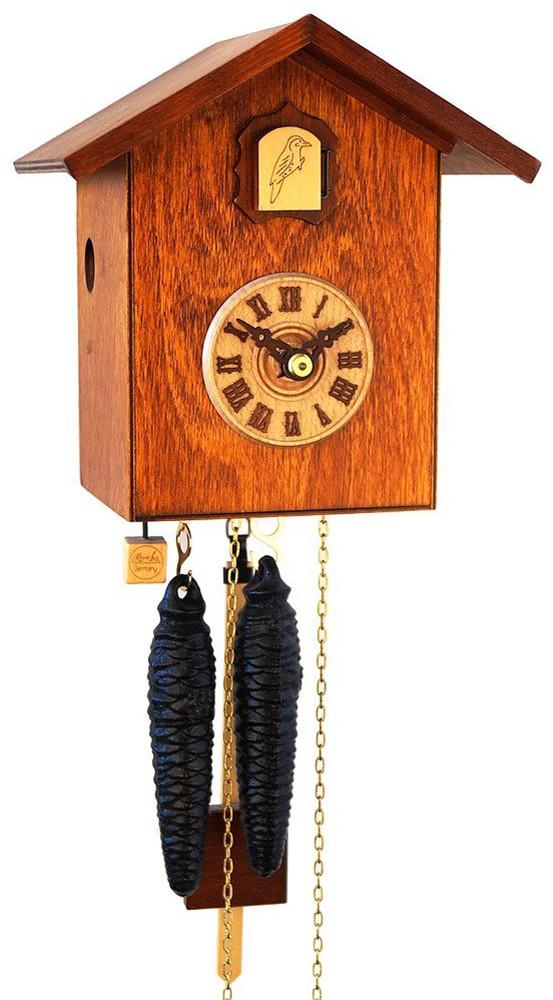 horloge coucou moderne brun cube m canique 1 jour. Black Bedroom Furniture Sets. Home Design Ideas