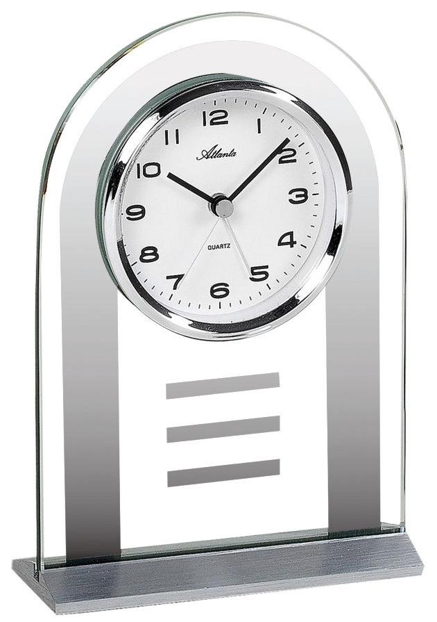 pendule poser moderne verre transparent et aluminium. Black Bedroom Furniture Sets. Home Design Ideas