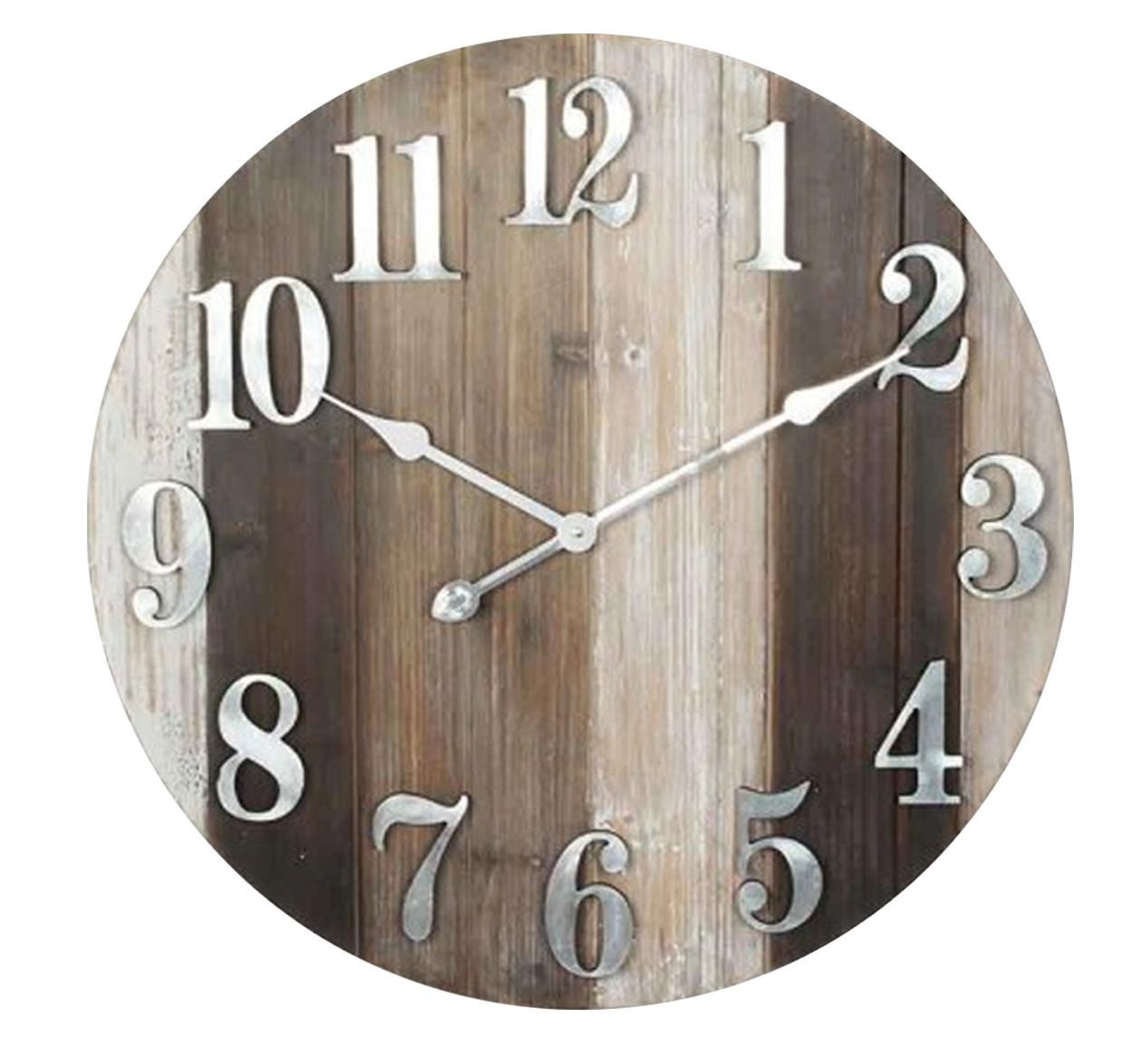 4c449a834455d Horloge murale en bois gros chiffres Ø 60 cm