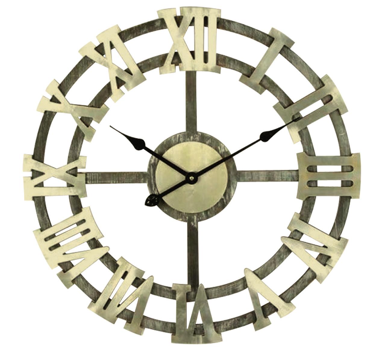 d66cd1b9b1a57 Horloge murale en bois gros chiffres Ø 63.5 cm