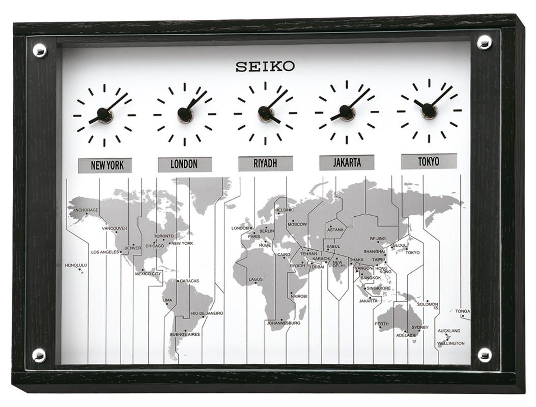 horloge murale 5 fuseaux horaires seiko 1001 pendules. Black Bedroom Furniture Sets. Home Design Ideas