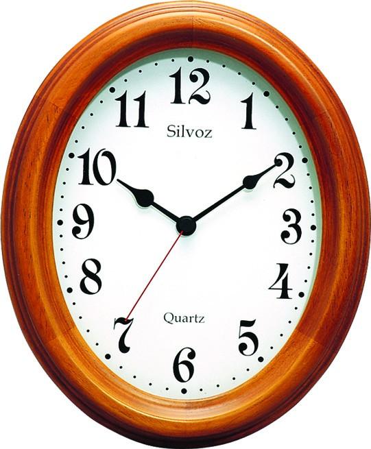 horloge murale ovale entourage bois teint merisier. Black Bedroom Furniture Sets. Home Design Ideas
