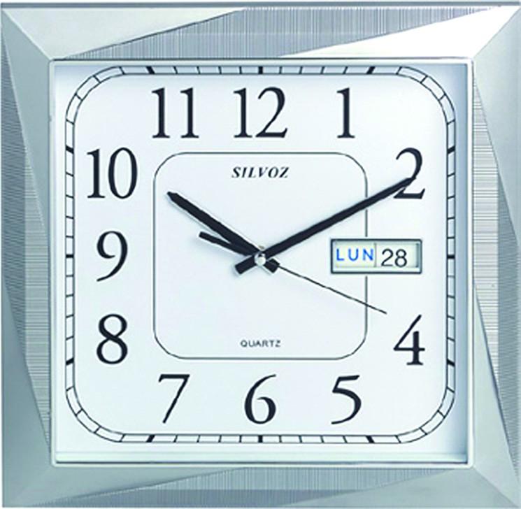 Pendule murale design inox horloge murale de style pour salon en mtal acrylique et inox with for Pendule cuisine inox