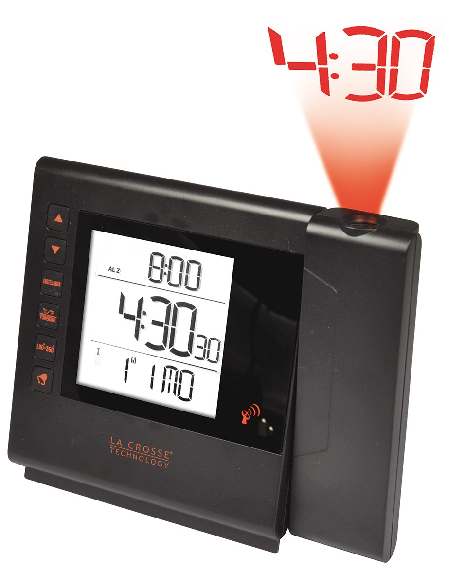 R veil radio pilot noir avec projection de l 39 heure - Reveil avec projection de l heure au plafond ...