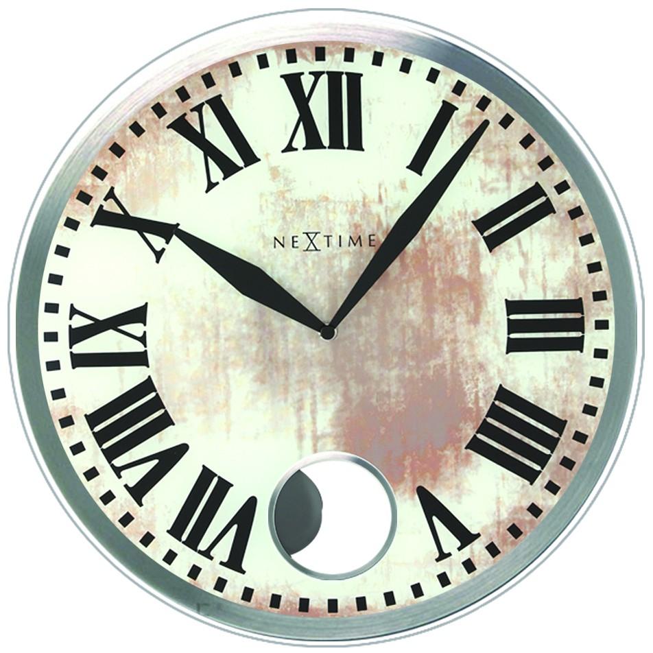 Grosse Horloge Fer Forgé horloge murale en verre à balancier gros chiffres romains Ø 43 cm